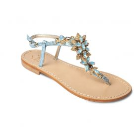 EMANUELA CARUSO Light Blue Laminated Leather Sandals