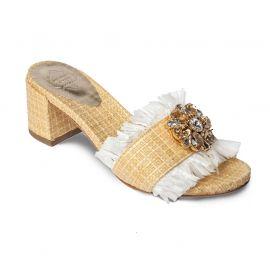 EMANUELA CARUSO OCRA Raffia with Fringe Sandals