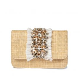 EMANUELA CARUSO ST.BARTH Beige Raffia Shoulder Bag