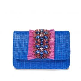 EMANUELA CARUSO ST.BARTH Blue/Pink Raffia Shoulder Bag