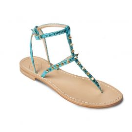 EMANUELA CARUSO TURQUOISE Mirror Leather Sandals