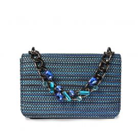 EMANUELA CARUSO VALENCIA Blue Raffia Shoulder Bag