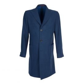 FINAEST Blue Herringbone Wool Single-Breasted Coat