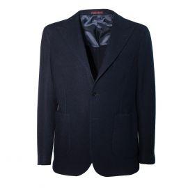 FINAEST Blue Navy 100% Cashmere Single-Breasted Jacket