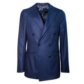 FINAEST Blue Wool Double-Breasted Jacket