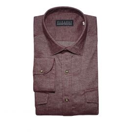 FINAEST Burgundy with Pockets Cotton Shirt