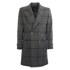 FINAEST Dark Green and Blue Check Double-Breasted Ulster Coat