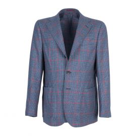 FINAEST Light Blue Prince of Wales Single-Breasted Jacket