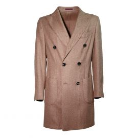 FINAEST Light Brown Herringbone Double-Breasted Coat