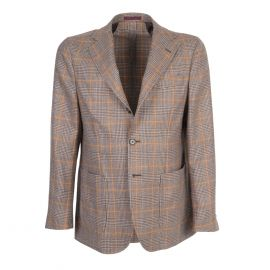 FINAEST Light Brown Prince of Wales Single-Breasted Jacket