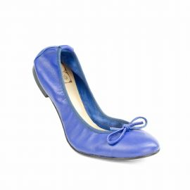 Sky Blue Folding Leather Ballet Flats
