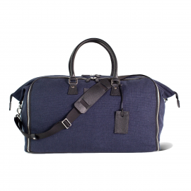 LUDOVICO MARABOTTO FLAMINGO Blue Linen/Regimental Weekend Bag