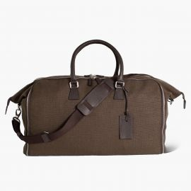 LUDOVICO MARABOTTO FLAMINGO Dark Brown Linen/Regimental Weekend Bag