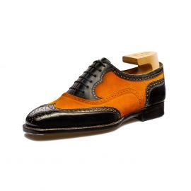 FRANCESCO LANZONE Black Calf and Orange Suede Leather Oxford Brogues Shoes
