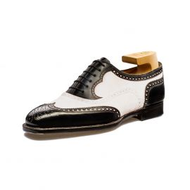 FRANCESCO LANZONE Black Calf and White Suede Leather Oxford Brogues Shoes