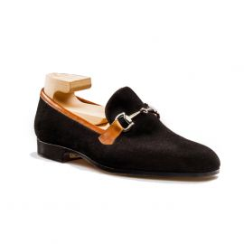 FRANCESCO LANZONE Black Suede Leather with Morsetto Slipper Shoes