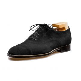 FRANCESCO LANZONE Black Suede Leather Oxford Shoes