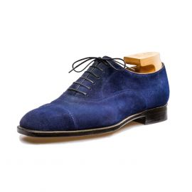 FRANCESCO LANZONE Blue Suede Leather Oxford Shoes