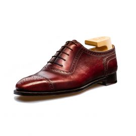 FRANCESCO LANZONE Bordeaux Calf Leather Oxford Semi-Brogues Shoes