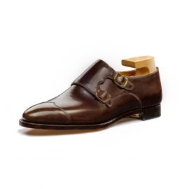 FRANCESCO LANZONE Dark Brown Calf Leather Monk-Strap Shoes