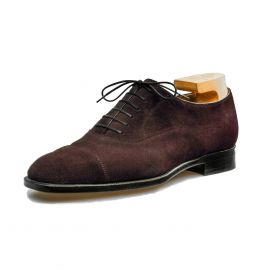 FRANCESCO LANZONE Dark Brown Suede Leather Oxford Shoes