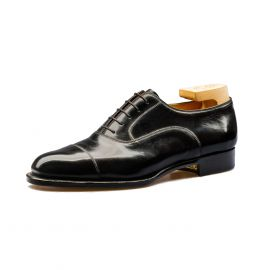 FRANCESCO LANZONE Polished Black Calf Leather Oxford Shoes