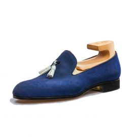 FRANCESCO LANZONE Royal Blue Suede Leather with White Tassel Slipper Shoes