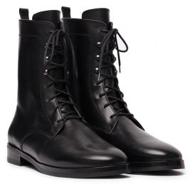 St. Moritz Black Leather Lace-Up Boots