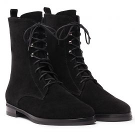 GIANLUCA GALLO St. Moritz Black Suede Lace-Up Boots
