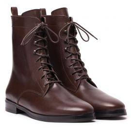 St. Moritz Dark Brown Leather Lace-Up Boots