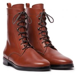 GIANLUCA GALLO St. Moritz Light Brown Leather Lace-Up Boots