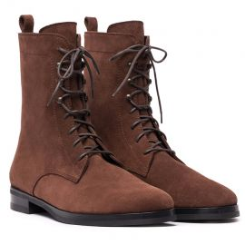 GIANLUCA GALLO St. Moritz Chocolate Suede Lace-Up Boots