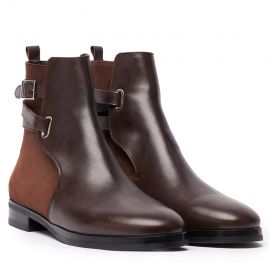 GIANLUCA GALLO Vienna Dark Brown Leather and Suede Chelsea Boots