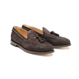 Dark Brown Calf Leather Tasseled Loafers