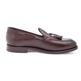 GREEN GEORGE Grained Brown Calf Leather Tasselled Loafers