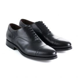 Polished Black Calf Leather Oxford Shoes