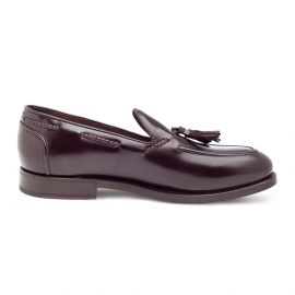 GREEN GEORGE Polished Burgundy Calf Leather Tasselled Loafers