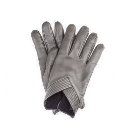 SOPHIA Grey Leather and Cashmere Embellished Gloves