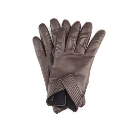 SOPHIA Brown Leather and Cashmere Embellished Gloves