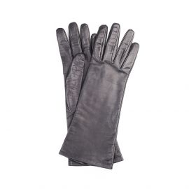 GRACE Black Lamb Leather and Silk Gloves