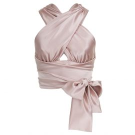 STRAP Blush Satin Wrap Top