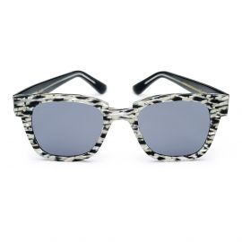 KYME SUNGLASSES Ricky Crystal Black Cream Melange Frame with Grey Lenses