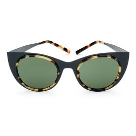 KYME SUNGLASSES Angel Light Satin Black Frame with Green Lenses