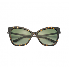KYME SUNGLASSES Gianna Dark Havana Acetate Frame and Gradient Green Lenses