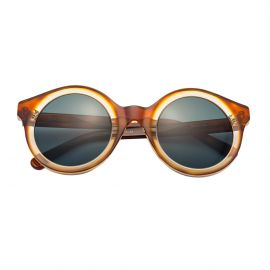 KYME SUNGLASSES Isa Sandwich Havana Acetate Frame and Green G15 Lenses