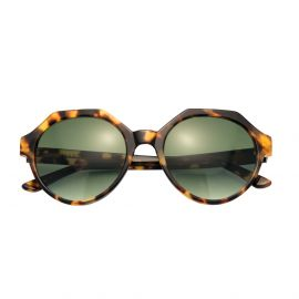 KYME SUNGLASSES Mary Yellow Tortoise Acetate Frame with Gradient Green Lenses