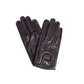 Black Woven Leather Gloves