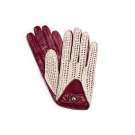 Burgundy with Cotton Crochet Leather Driving Gloves
