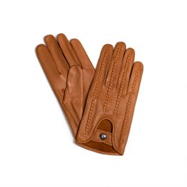 Camel Woven Leather Gloves