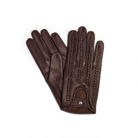 Chocolate Woven Leather Gloves